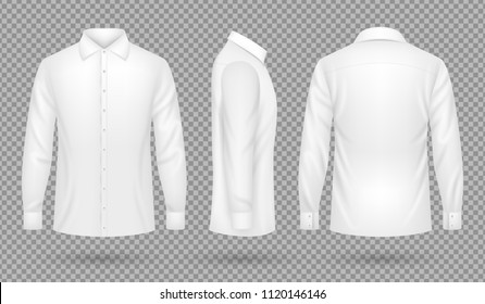 White blank male shirt with long sleeves in front, side, back views. Realistic vector template isolated. Shirt blank man, cotton clothing view. Vector illustration