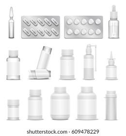 White blank medicine pharmaceutical packaging vector mockups. Bottles spray and drugs. Medication drugs isolated, illustration of bottle and ampoule drug