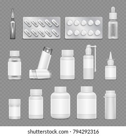 White blank medicine pharmaceutical packaging vector mockups isolated on transparent background. Illustration of pharmaceutical container and tablet illustration