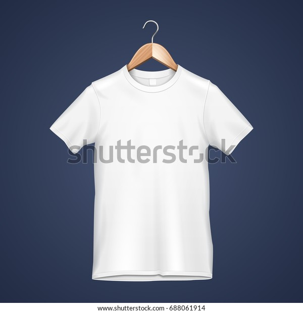 3e72ac20c863 White Blank Mens Or Unisex Cotton T-Shirt On The Hanger. Front View.