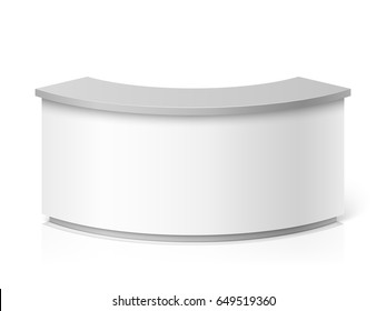 White blank modern reception. Round information desk or exhibition counter vector illustration