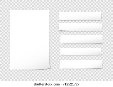 White blank, note, notebook, copybook paper strips on gray background.