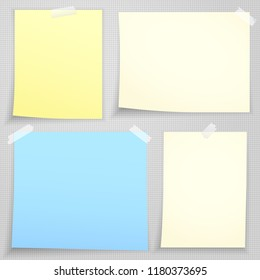White blank note paper stuck on gray squared backgroud. Vector illustration
