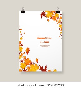 White blank on autumn background with maple leaves. Vector