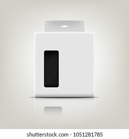 White Blank Package Box with a transparent plastic window.