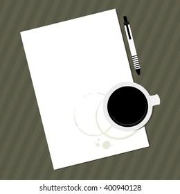 White Blank paper. coffee. Office paperwork on stripes desktop vector background