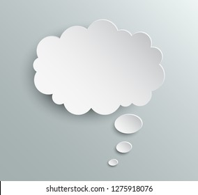 White blank paper speech bubble, chat sign - stock vector