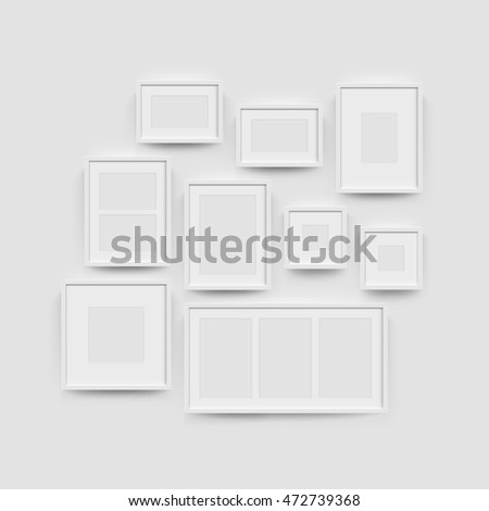 3b7eca7a27c Royalty-free stock vector images ID  472739368. White blank photo frame  wall gallery set. Vector picture frame mockup template on wall background -  Vector
