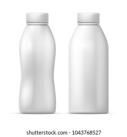 White blank plastic bottle. Vector packaging template for dairy milk, drink yogurt products. Milk bottle plastic, dairy drink yogurt illustration
