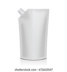 White blank plastic doypack stand up pouch with spout. Flexible packaging mock up for food or drink for your design
