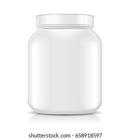 White Blank Plastic Jar isolated on white background. Sport Nutrition, Whey Protein or Gainer for your design