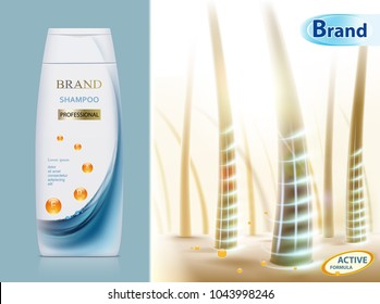 White blank plastic packaging with hair shampoo. Background with human hair. Design of brand label . Stock vector illustration.