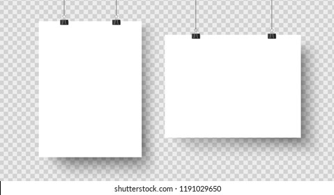 White blank posters hanging on binders. A4 paper page, sheet canvas on wall for exhibition poster template. Vector photo exhibit realistic isolated icons mockup set