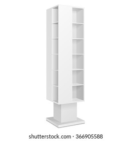 White Blank Quadrilateral Empty Showcase Displays With Retail Shelves Products On White Background Isolated. Ready For Your Design. Product Packing. Vector EPS10