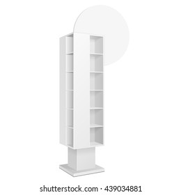 White Blank Quadrilateral Empty Showcase Displays With Retail Shelves On White Background Isolated. Ready For Your Design. Product Presentation. Vector EPS10