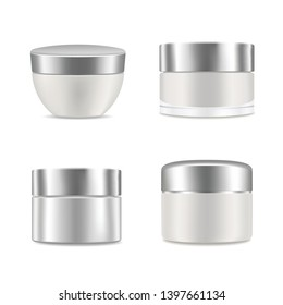 White blank realistic cream containers set. Mockup, cosmetic package, jar vector illustration