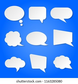 White blank retro speech bubbles vector set isolated on blue background illustration