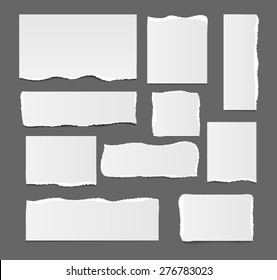 White blank ripped paper template isolated, vector illustration. Square, rectangular design paper elements, vector illustration.  Template for your text