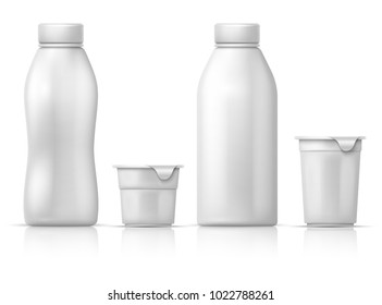 White blank round plastic yogurt can, container and bottles. Vector packaging mockup for dairy milk products. Illustration of plastic yogurt container, product milk package