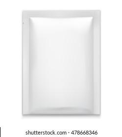 White blank sachet on white background. Vector illustration. Ready for your design