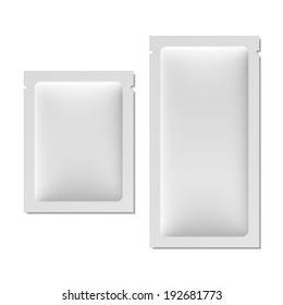White blank sachet packaging for food, cosmetics, or medicine.
