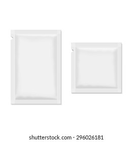 White blank sachet packaging  food, cosmetics or medicine.
