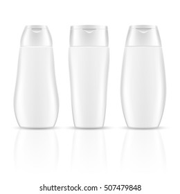 White blank shampoo bottles cosmetic container packages vector mockups. Realistic product for care health and clean body illustration
