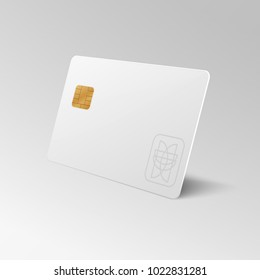 White blank shopping credit card isolated 3d vector illustration. Credit card for finance, bank or shopping discount plastic card