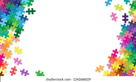 White blank space center and colorful rainbow jigsaw puzzles piece frame background, Vector illustration