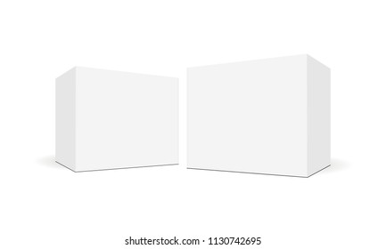 White blank square boxes with side perspective view. Mockup for healthcare and pharmaceutical packaging design. Vector illustration