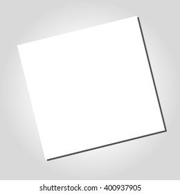 White Blank square paper. Office paperwork on grey desktop vector background