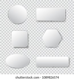 White blank square and rounded button vector set. Button banner round, badge interface for application illustration on transparent background
