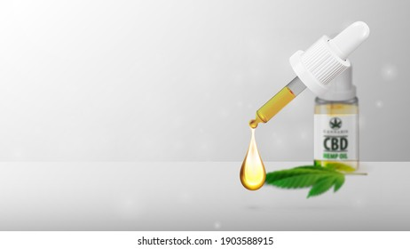 White blank template with glass transperent bottle of Medical cbd oil and hemp leaf with pipette