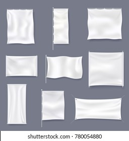 White blank textile advertising banner collection vector illustration