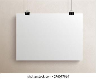 White blank textured horizontal sheet of paper on the light beige background, vector mock-up illustration