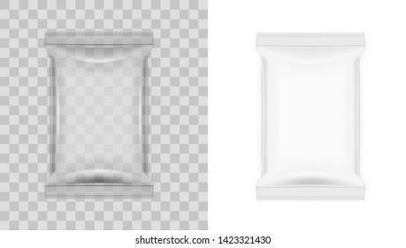 White Blank Transparent Food Snack Sachet Bag Package. EPS10 Vector