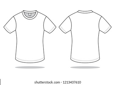 White Blank T Shirt For Template Front And Back View