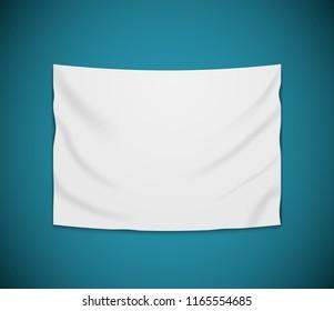 White blank vector banner textile. Empty hanging fabric banner illustration design