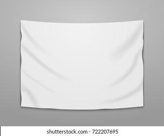 White blank vector banner textile. Empty hanging fabric banner illustration design.
