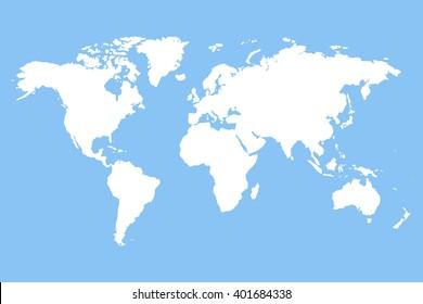 White blank world map.  Stock vector.