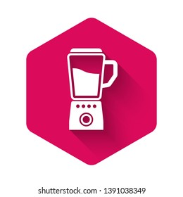 White Blender icon isolated with long shadow. Kitchen electric stationary blender with bowl. Cooking smoothies, cocktail or juice. Pink hexagon button. Vector Illustration