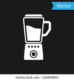 White Blender icon isolated on black background. Kitchen electric stationary blender with bowl. Cooking smoothies, cocktail or juice. Vector Illustration