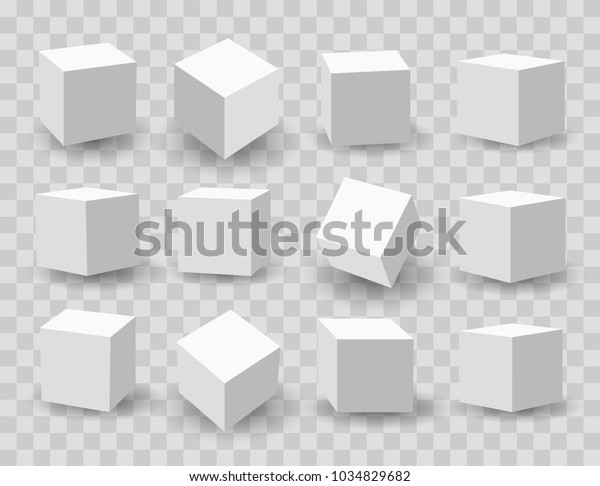 White blocks. 3d modeling white cubes vector illustration
