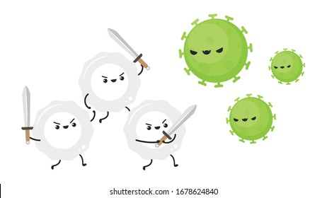 White blood cell and bacteria character design.  White blood cell on white background.
