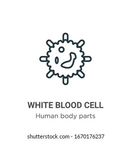 White blood cell outline vector icon. Thin line black white blood cell icon, flat vector simple element illustration from editable human body parts concept isolated stroke on white background