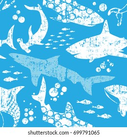 White and blue Abstract seamless pattern with sharks.Grunge modern background for boys and girls,  For prints, T-shirts, textiles,fabric, web. Urban dark wallpaper.