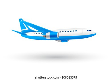 White and Blue Airplane Icon