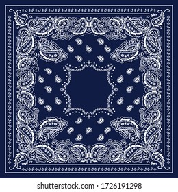 White and blue background, decorative geometric line ornament. White pattern template. Bandana shawl, tablecloth fabric print, silk neck scarf, kerchief design.
