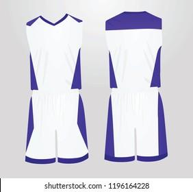 White and blue basketball uniform. vector illustration