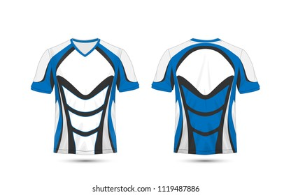 White, blue and black layout e-sport t-shirt design template